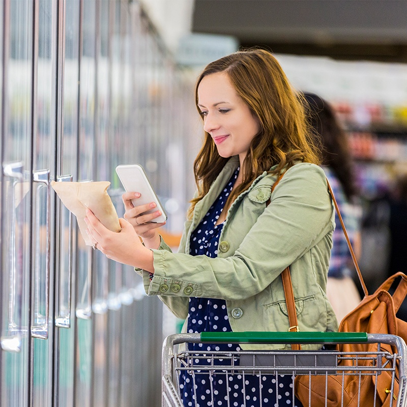 Woman shopping with mobile pos counterpoint