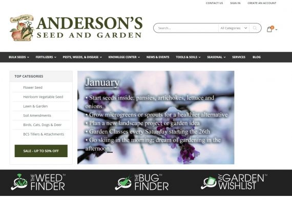 Anderson's seed and garden categories ecommerce website 1